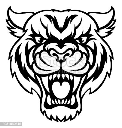 An illustration of an angry looking tiger mascot animal character