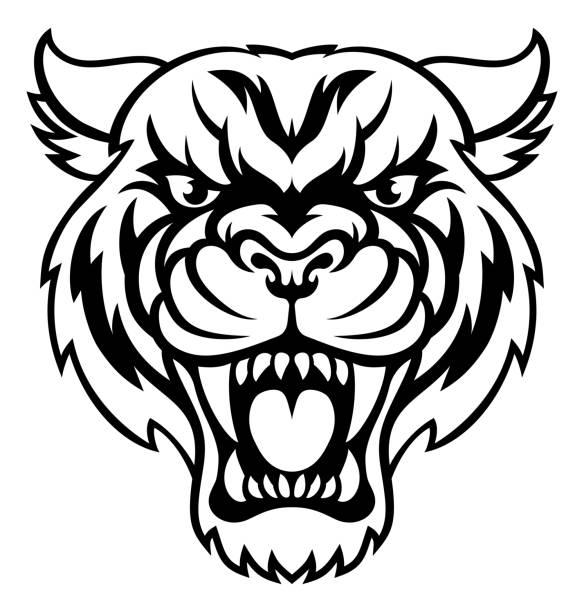 Angry Tiger Sports Mascot An illustration of an angry looking tiger mascot animal character bobcat stock illustrations