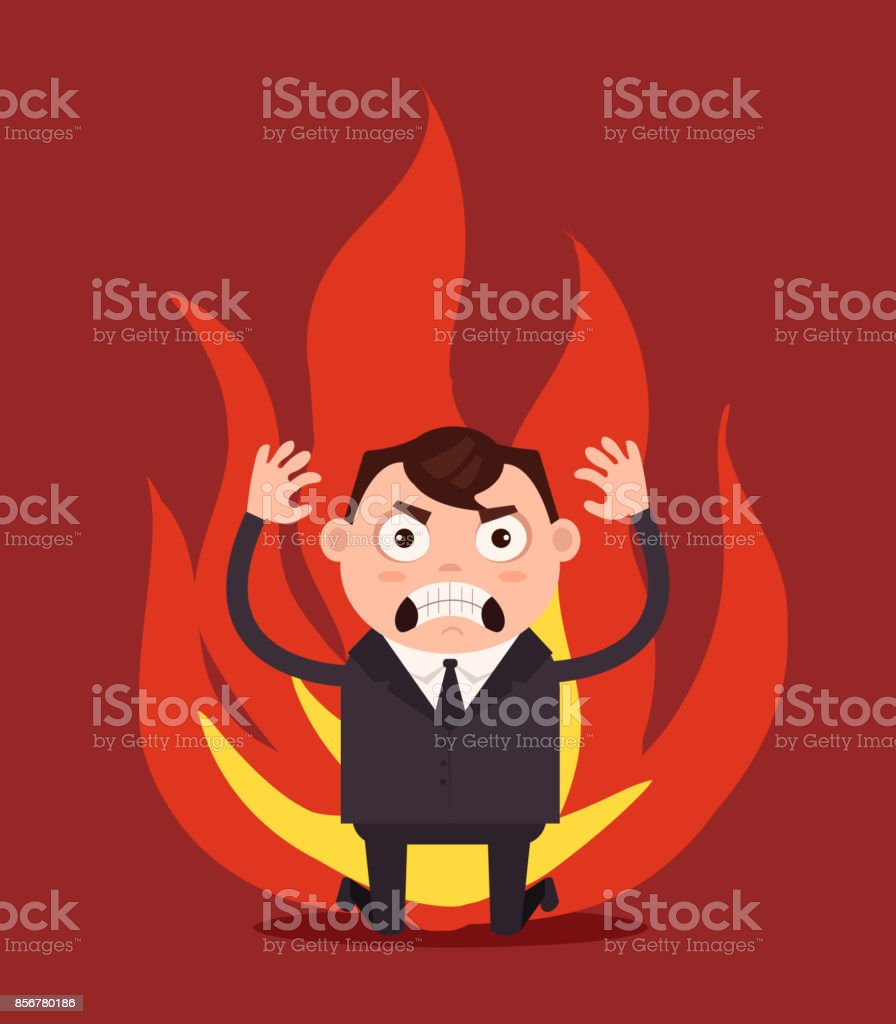 Angry unhappy businessman office worker character vector art illustration