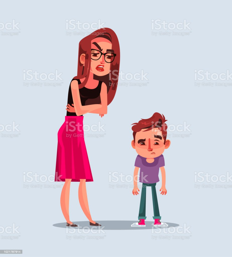 Angry unhappy mother character scold her son. Vector flat cartoon illustration vector art illustration