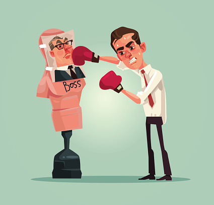 Angry upset office worker man character beats boxing mannequin with boss photo
