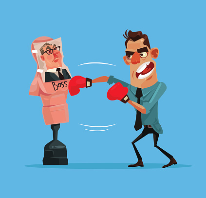 Angry upset office worker man character beats boxing mannequin with boss photo. Vector flat cartoon illustration
