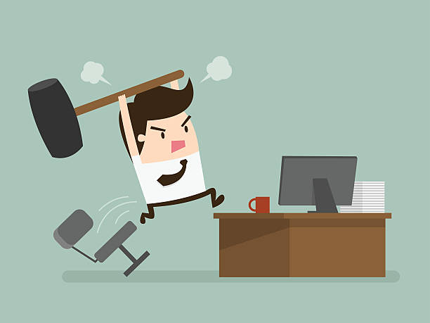 Angry Furious frustated businessman hitting the computer, vector illustration demolished stock illustrations