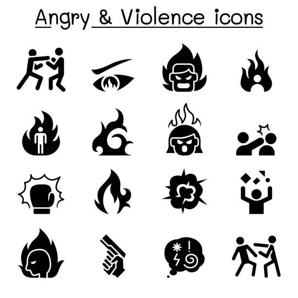 stockillustraties, clipart, cartoons en iconen met angry & geweld pictogramserie - punch