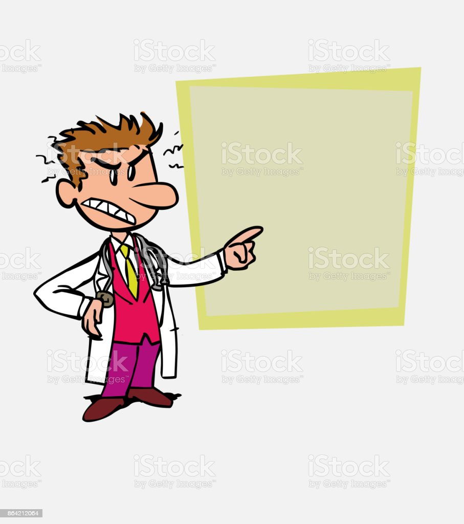 Angry white doctor is showing, as in a presentation, the data you want. royalty-free angry white doctor is showing as in a presentation the data you want stock vector art & more images of care