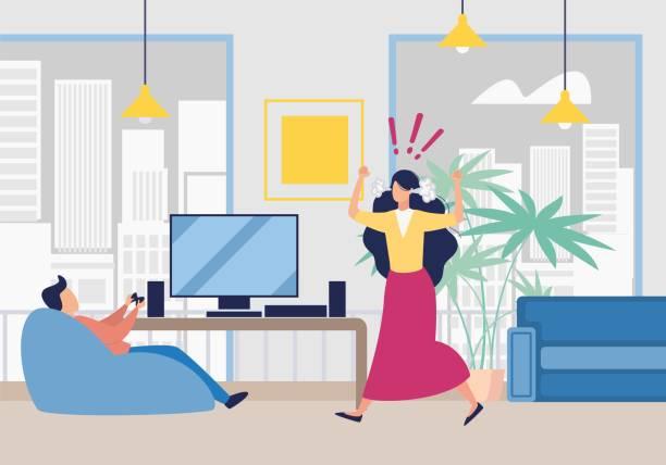 stockillustraties, clipart, cartoons en iconen met boze vrouw schreeuwen op man spelen video game - couple fighting home