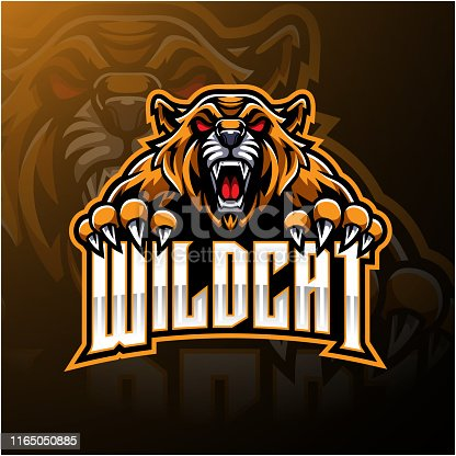 Illustration of Angry wildcat face mascot logo design