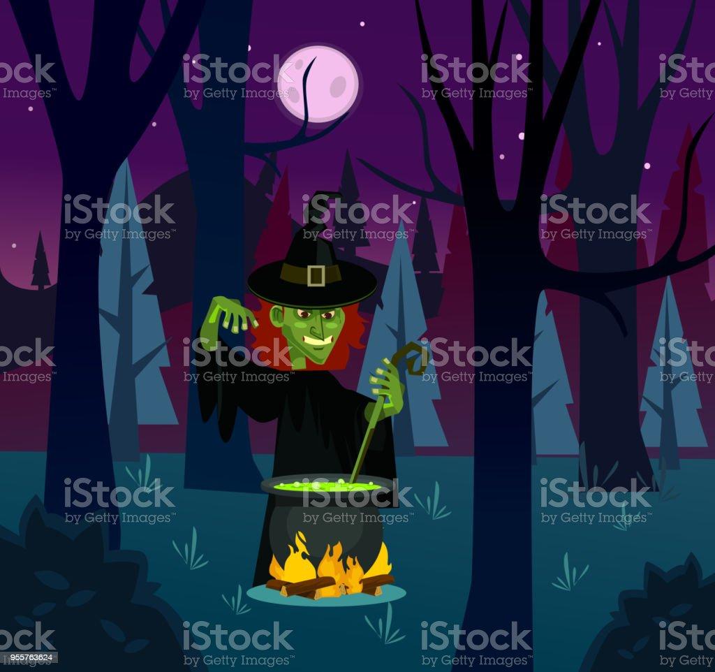 Böse Hexe Frau Charakter Trank Brauen Vektorflache ...