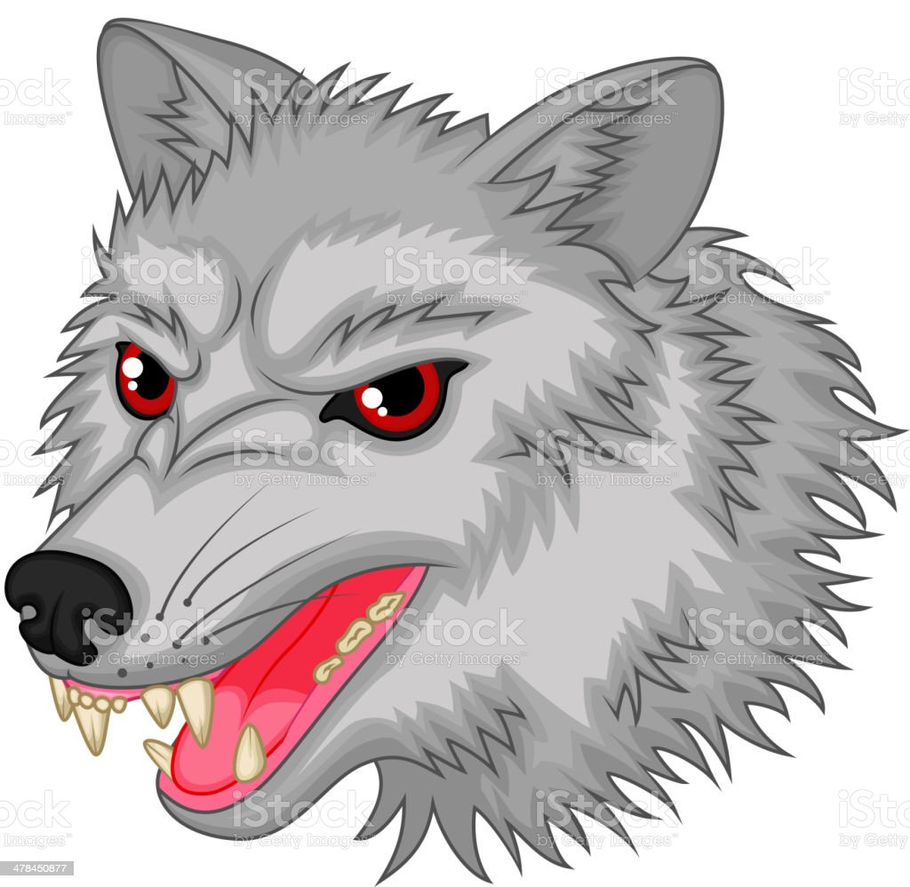 Angry wolf cartoon character vector art illustration
