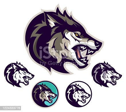 Angry wolf head emblem. Vector illustration.