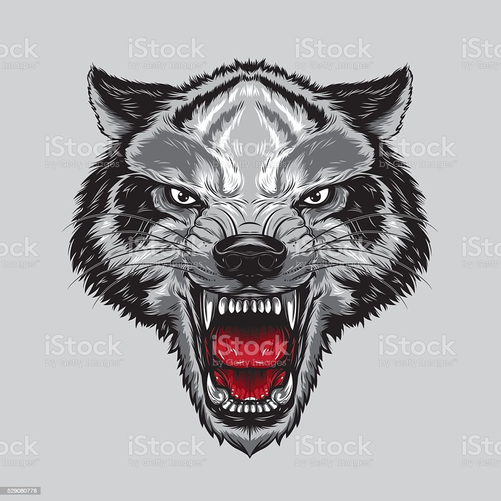 Angry Wolf Face vector art illustration