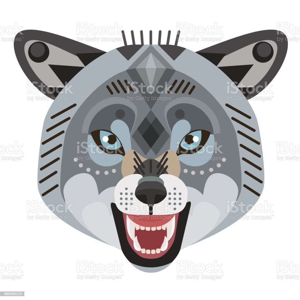 Angry wolf head icon. Vector decorative Emblem. vector art illustration