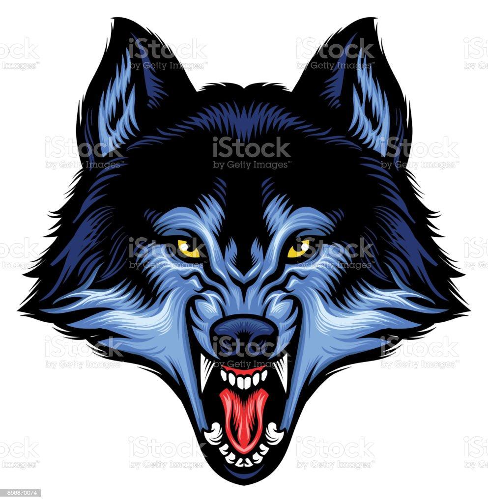 angry wolf head show his sharp teeth vector art illustration