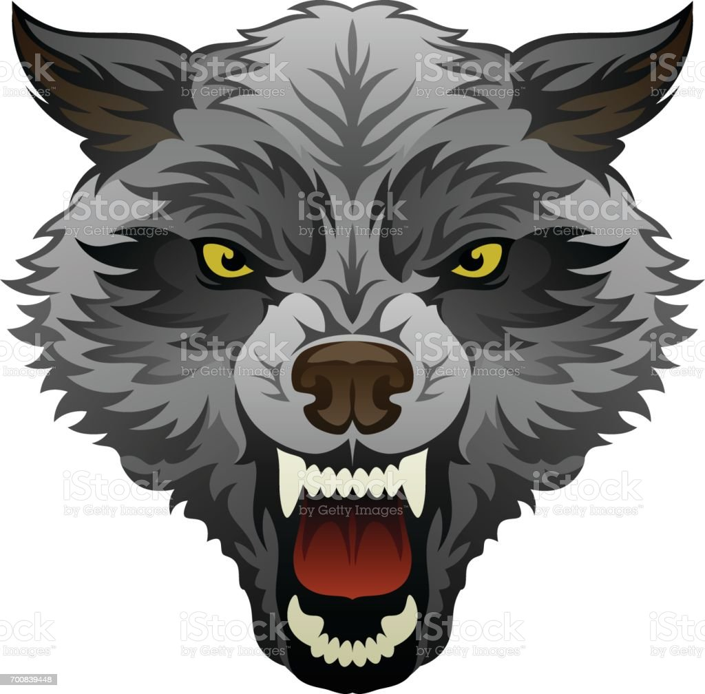 Angry wolf head vector art illustration