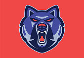 vector illustration of of angry wolf mascot