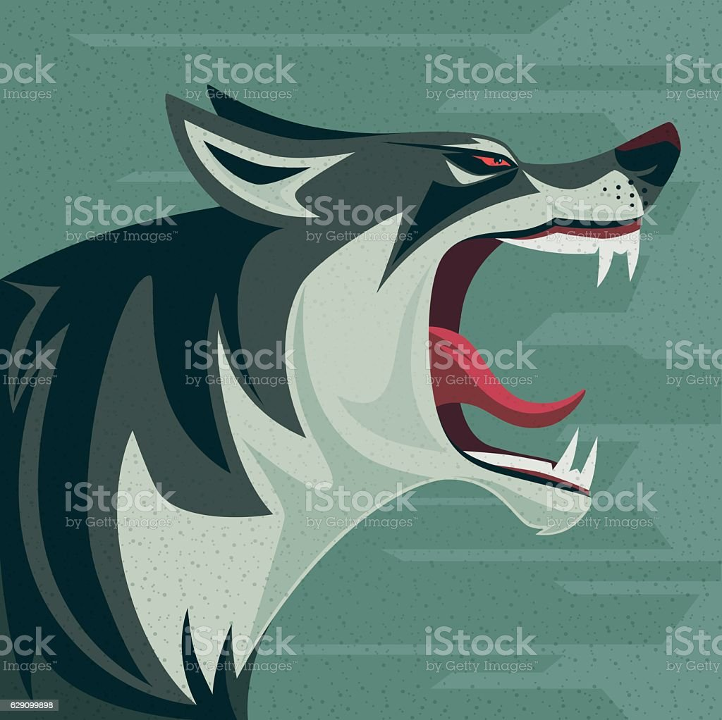 angry wolf roaring vector art illustration
