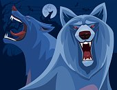 vector illustration of angry wolves roaring