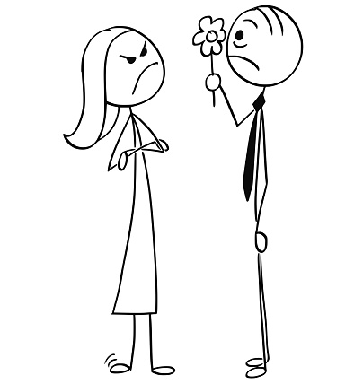Angry Woman and Man Giving her Flower on Date