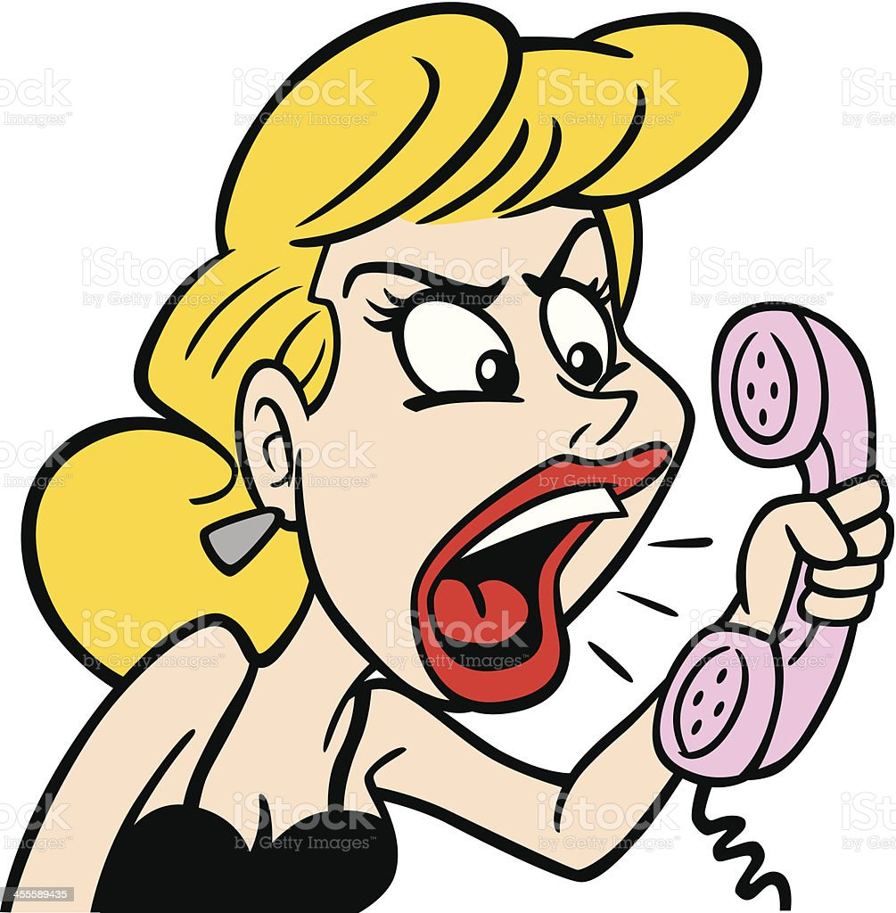 Angry Woman At Phone vector art illustration
