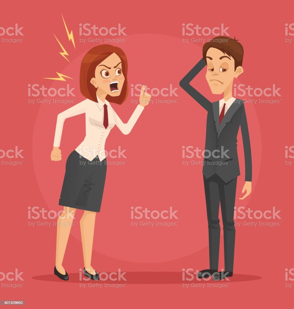 Angry woman boss character yelling at employee man office worker vector art illustration