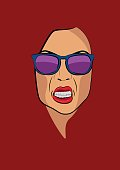 Angry woman face portrait with sunglasses vector illustration