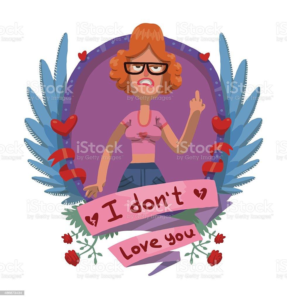 a14de141423a7 Angry mulher em óculos quadro, contra o cartão de Dia dos Namorados  ilustração de angry