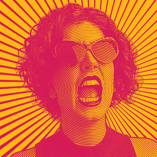 illustrazioni stock, clip art, cartoni animati e icone di tendenza di donna arrabbiata che urla - furioso