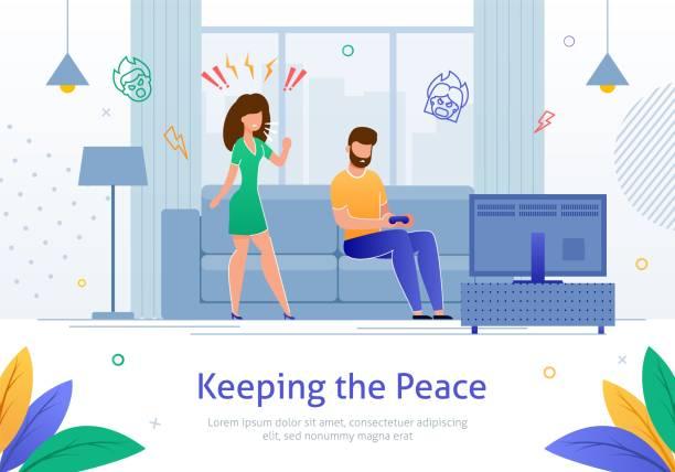 stockillustraties, clipart, cartoons en iconen met boze vrouw schreeuwen tegen man die speelt video games. - couple fighting home
