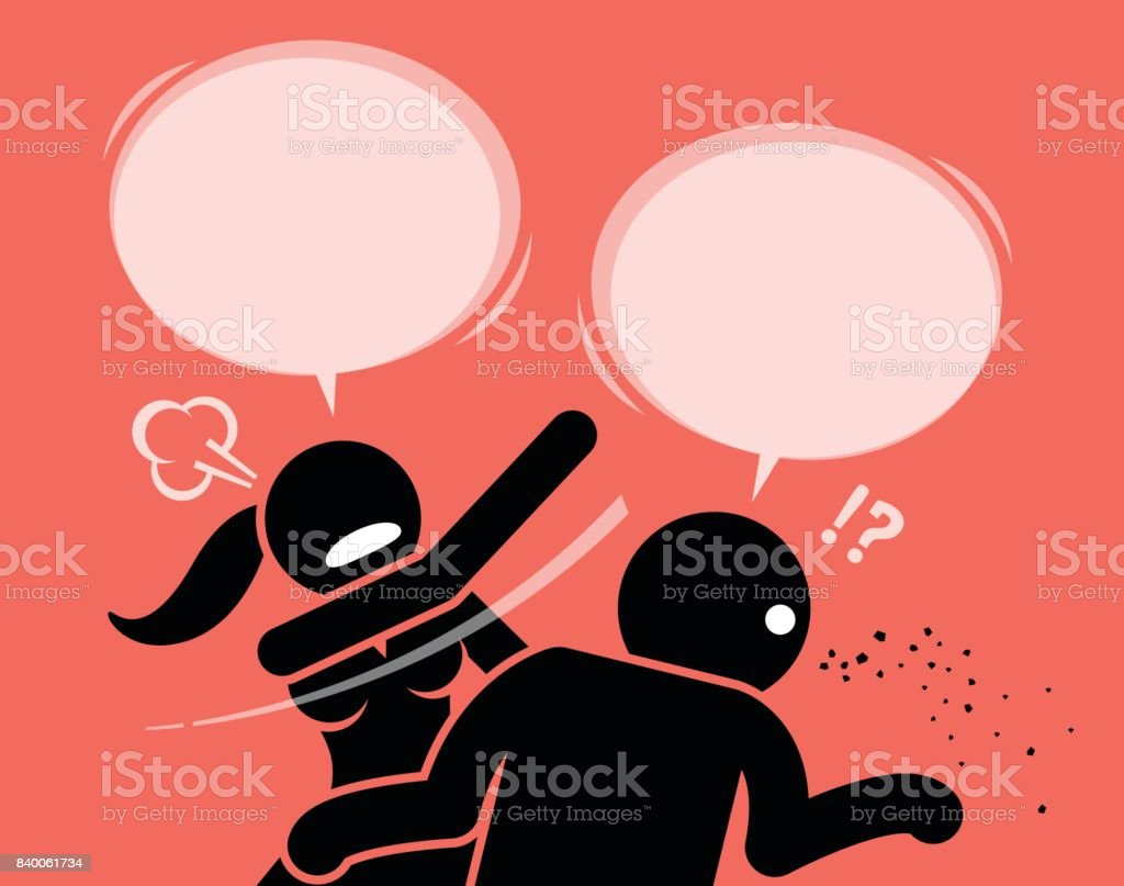 Angry woman slapping a man for being rude and insulting. vector art illustration