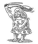 Angry Woman Swinging Her Handbag Drawing