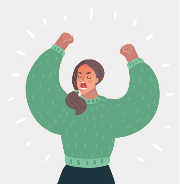 angry woman up her hands. - anger stock illustrations