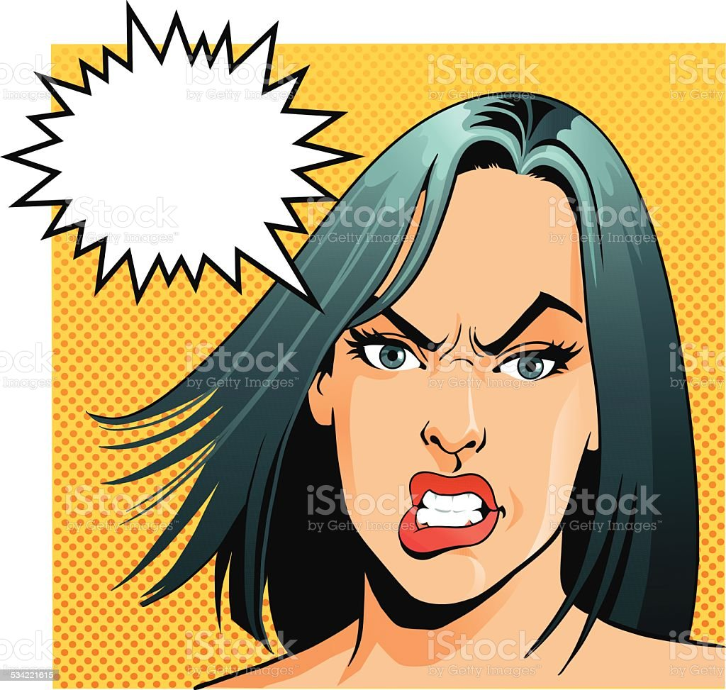 Angry Woman With Speech Bubble vector art illustration