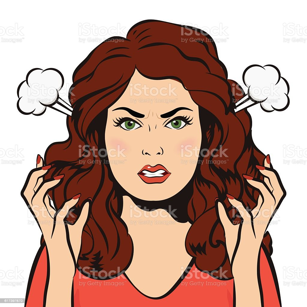 Angry woman with steam blowing from ears. Young furious girl. vector art illustration