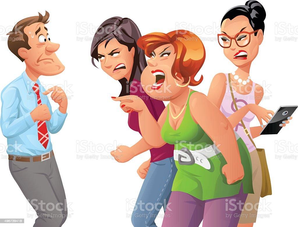 Angry Women Yelling At Man vector art illustration