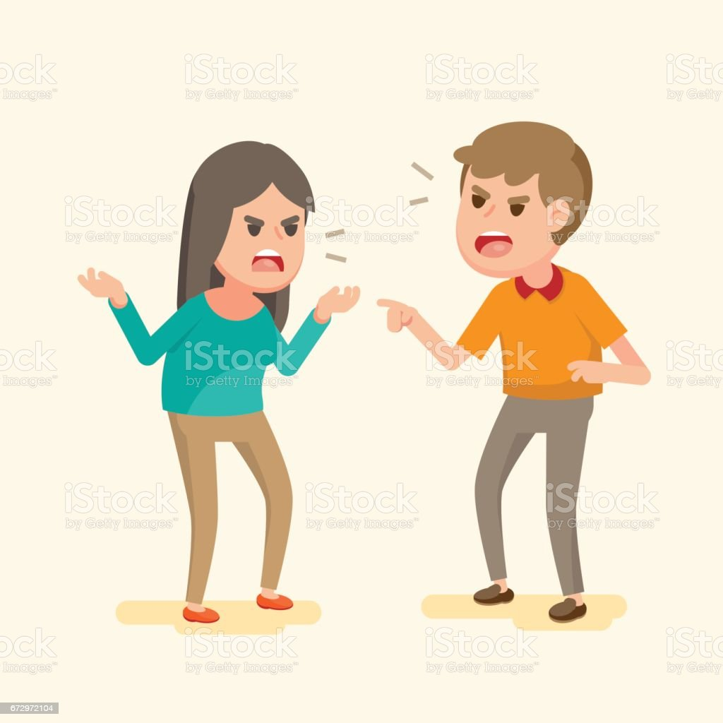 Angry young couple fighting and shouting at each other, people arguing and yelling,Vector cartoon illustration. vector art illustration