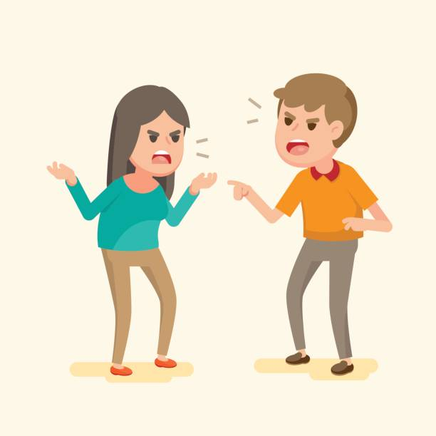 Angry young couple fighting and shouting at each other, people arguing and yelling,Vector cartoon illustration. Angry young couple fighting and shouting at each other, people arguing and yelling,Vector cartoon illustration. arguing stock illustrations
