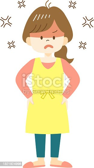 istock Angry young woman in yellow apron 1321924998