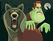 vector illustration of angry zombie and wolf snarling