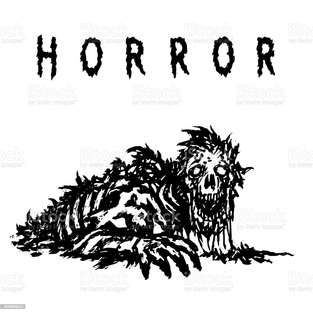 Angry zombie with a face peeled to the skull wakes up. Vector illustration vector art illustration