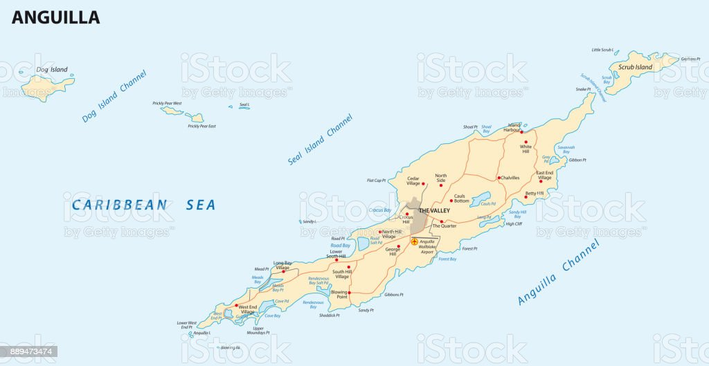Anguilla Road Map Stock Illustration - Download Image Now ... on map of montserrat, map of st barts, map of martinique, map of caribbean, map of antigua, map of st maarten, map of jamaica, map of french southern territories, map of aruba, map of the bahamas, map of the south sandwich islands, map of dominica, map of guadeloupe, map of cuba, map of st martin, map of argentina, map of barbados, map of costa rica, map of nepal,