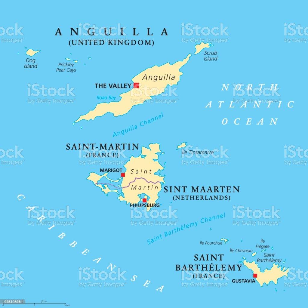 Anguilla, Saint-Martin, Sint Maarten and Saint Barthelemy map vector art illustration