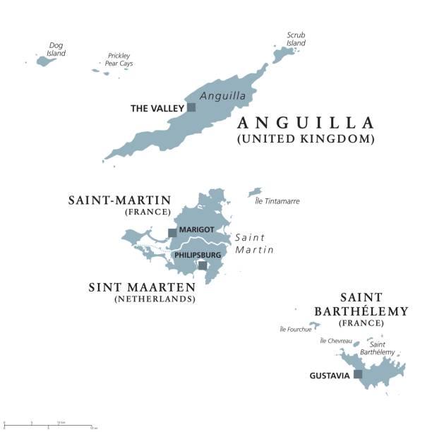 Anguilla, Saint-Martin, Sint Maarten and Saint Barthelemy political map vector art illustration