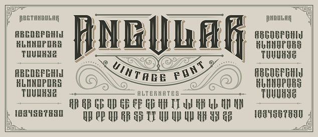 Angular display font with serifs and drop shadow in old style.