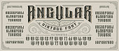 Angular display font with serifs and drop shadow in retro style. Perfect for alcohol labels, vintage tattoo logos, headlines and many other. All elements are on the separate layers.