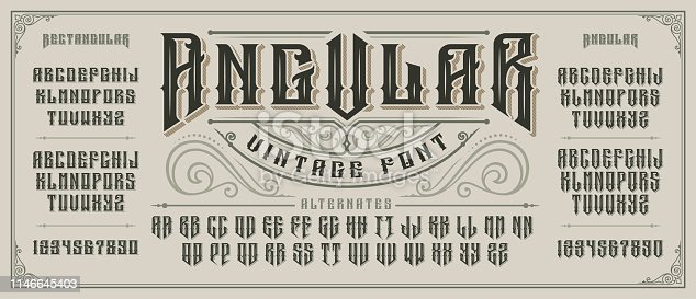 istock Angular display font with serifs and drop shadow in old style. 1146645403