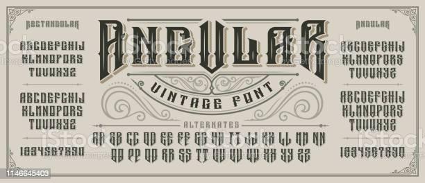 Angular display font with serifs and drop shadow in old style vector id1146645403?b=1&k=6&m=1146645403&s=612x612&h=zlxcyguuv o18slkfyeqtqhnrhumfafaf7ot vvqaj8=