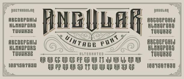 이전 스타일의 세리프 및 드롭 그림자와 각도 표시 글꼴. - 오래된 stock illustrations