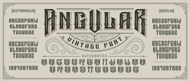 Angular display font with serifs and drop shadow in old style. Angular display font with serifs and drop shadow in retro style. Perfect for alcohol labels, vintage tattoo logos, headlines and many other. All elements are on the separate layers. beer stock illustrations