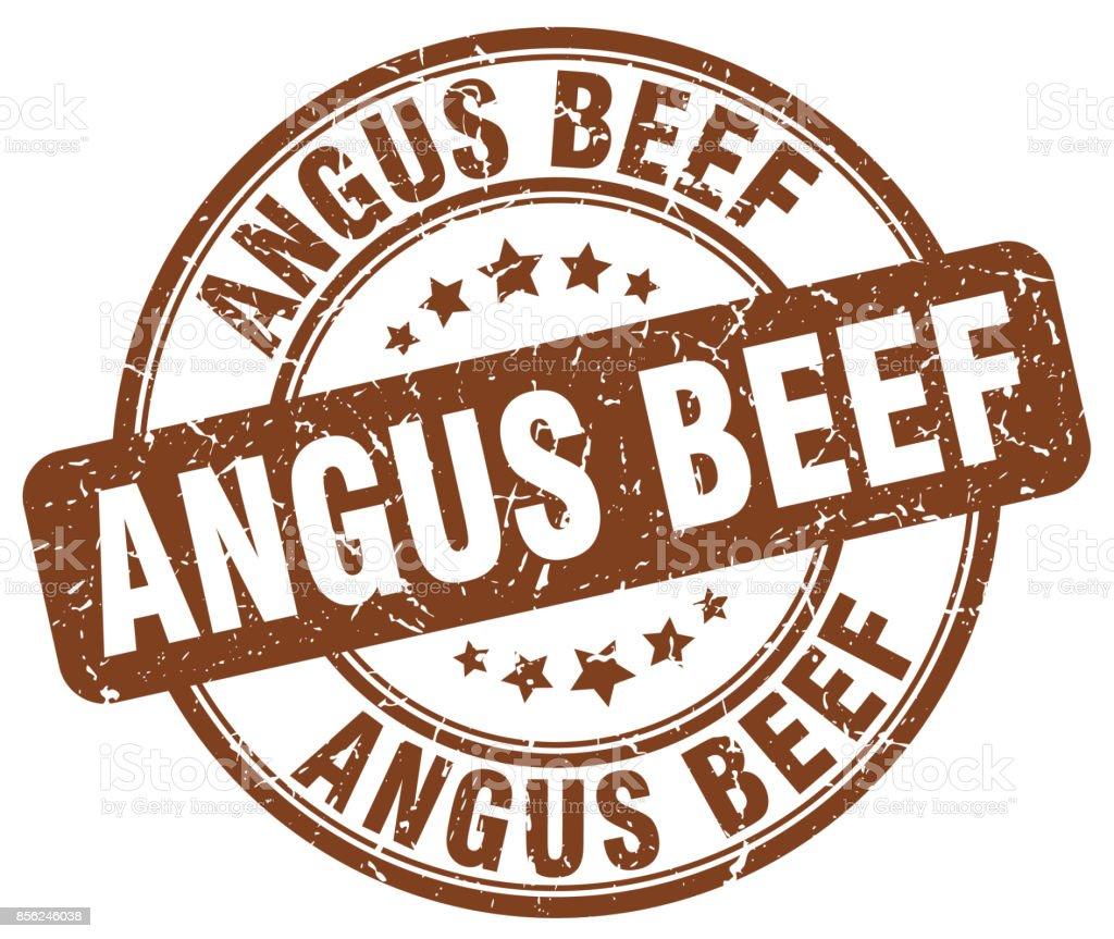 angus beef brown grunge round vintage rubber stamp vector art illustration