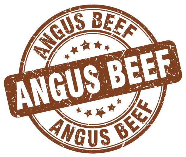 ilustrações de stock, clip art, desenhos animados e ícones de angus beef brown grunge round vintage rubber stamp - beef angus